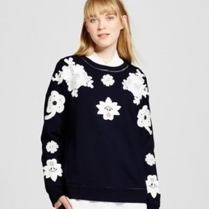 Victoria Beckham blue lace top floral sweater NWT